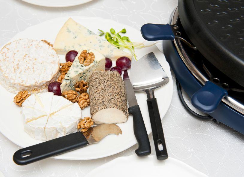 Appareil à raclette fait à partir de pierre naturelle – thermostat réglable – spatules en bois et poêlons antiadhésifs